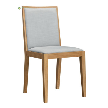Solid Wood Dining Chair with Grey Fabric Cushion